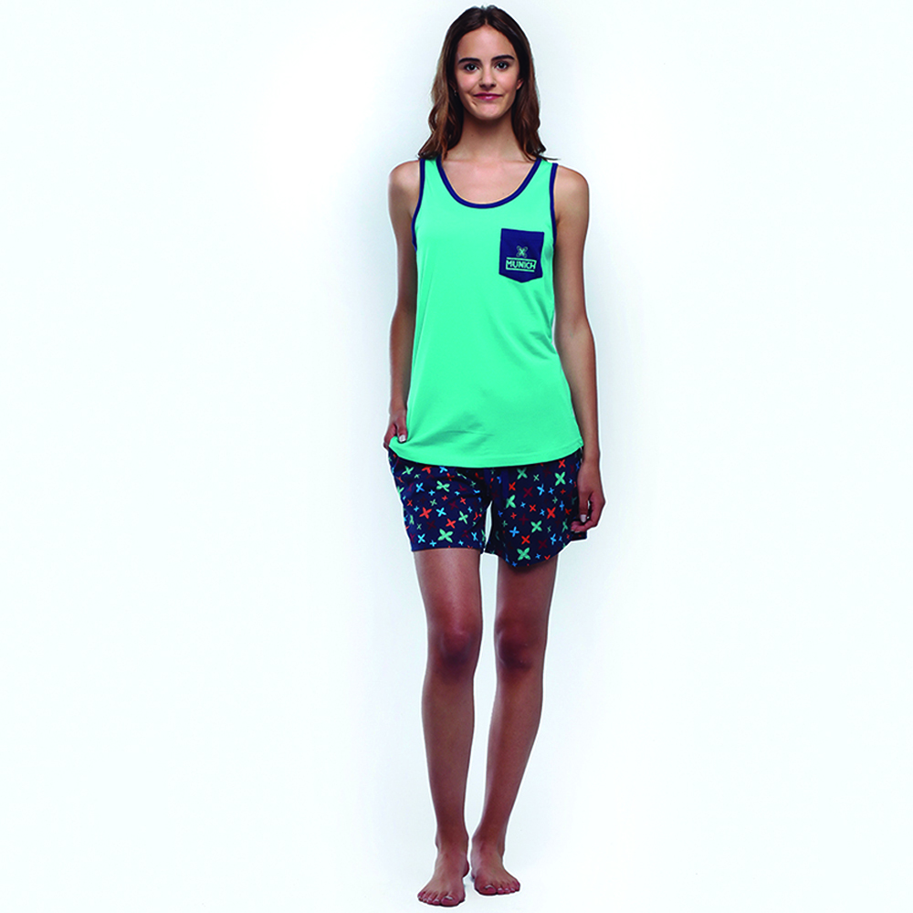 Pijama mujer m/corta - verde/azul