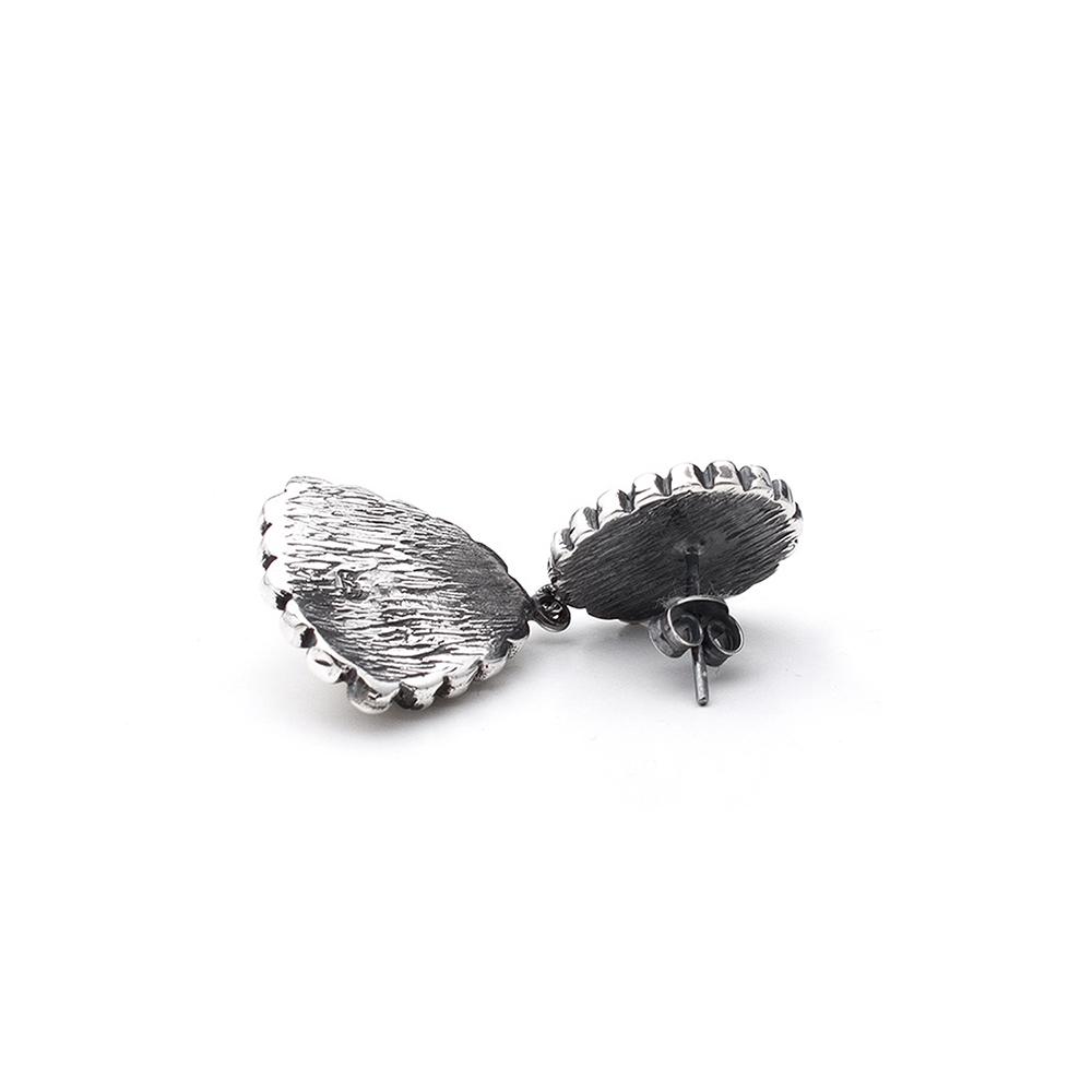 Pendientes doble plata mujer - turquesa/coral