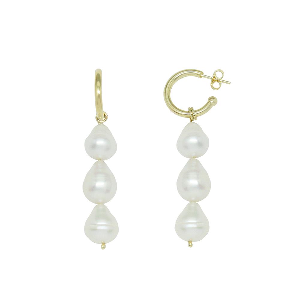 Pendientes plata chapado oro mujer - perlas