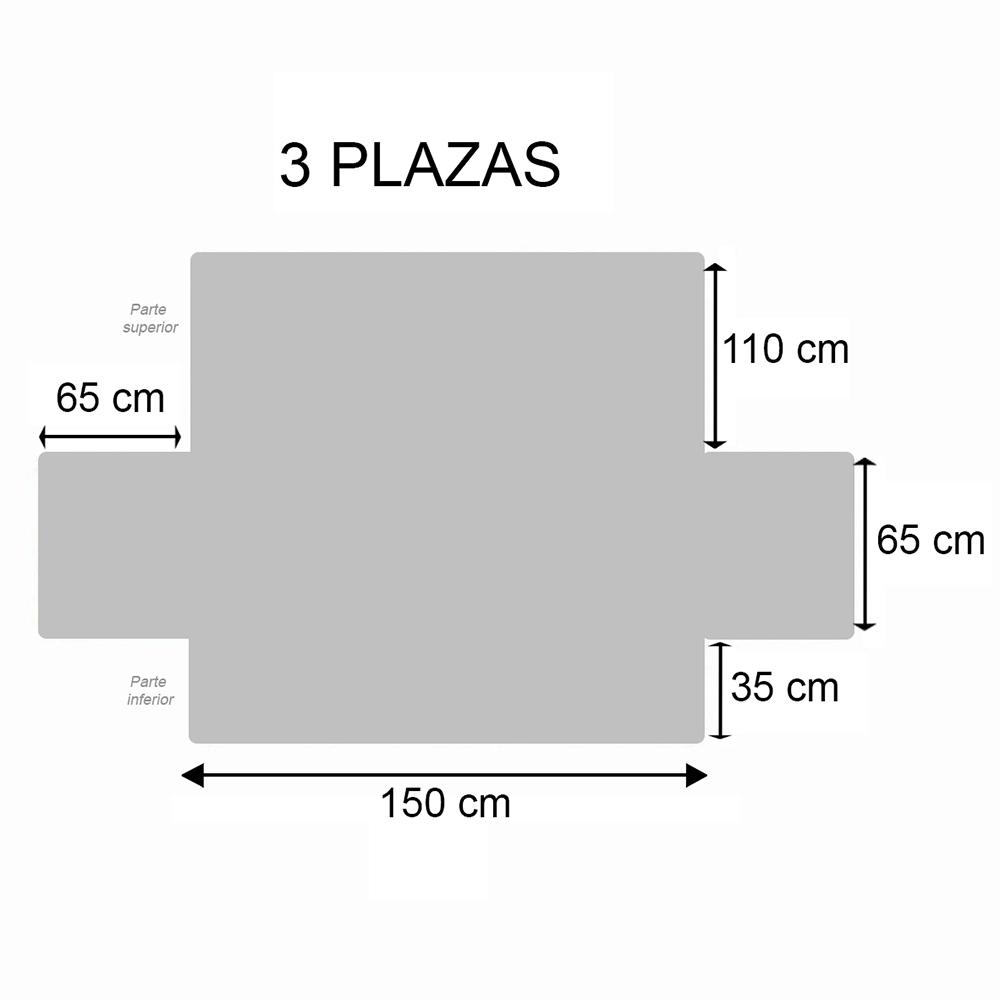 Cubre sofá lineal 3 plazas - beige/marrón