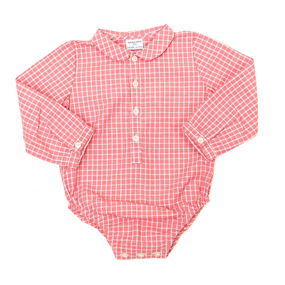 Body camisa m/larga bebé - coral/blanco