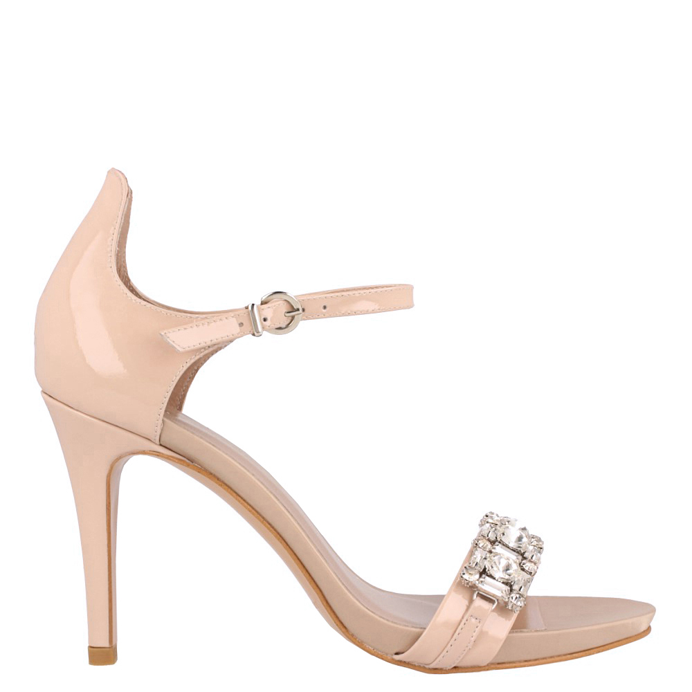 9,5cm Sandalia piel tacón mujer - natural