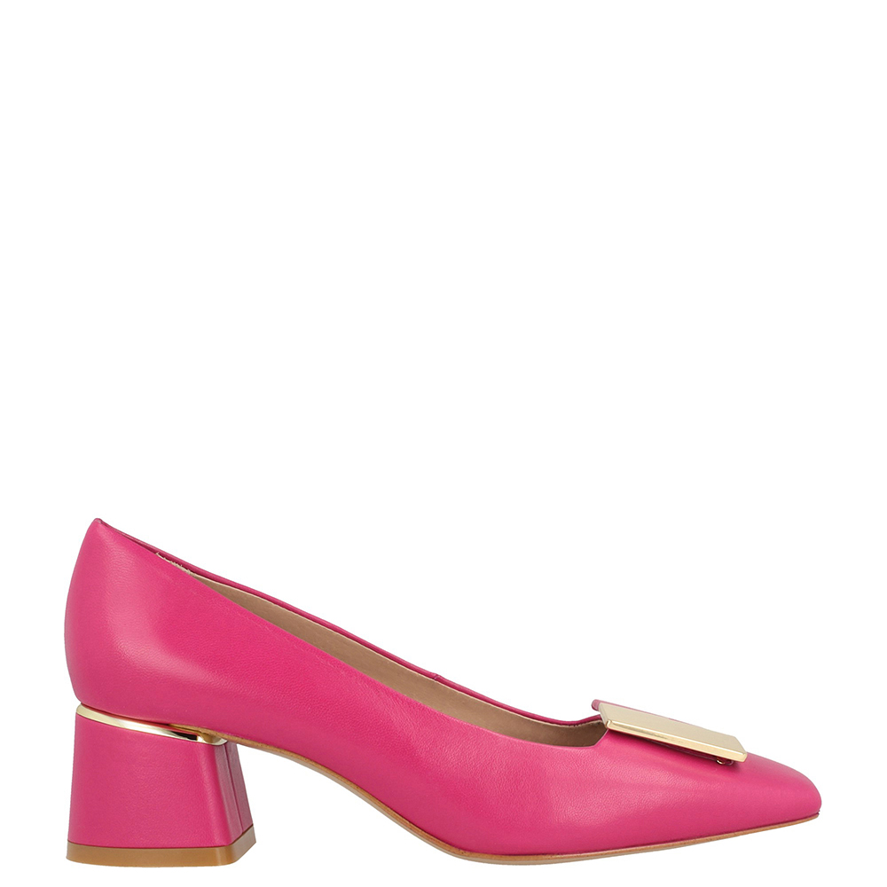 Zapato piel tacón mujer - fucsia
