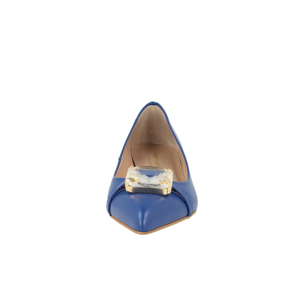 Zapato tacón piel mujer - azul