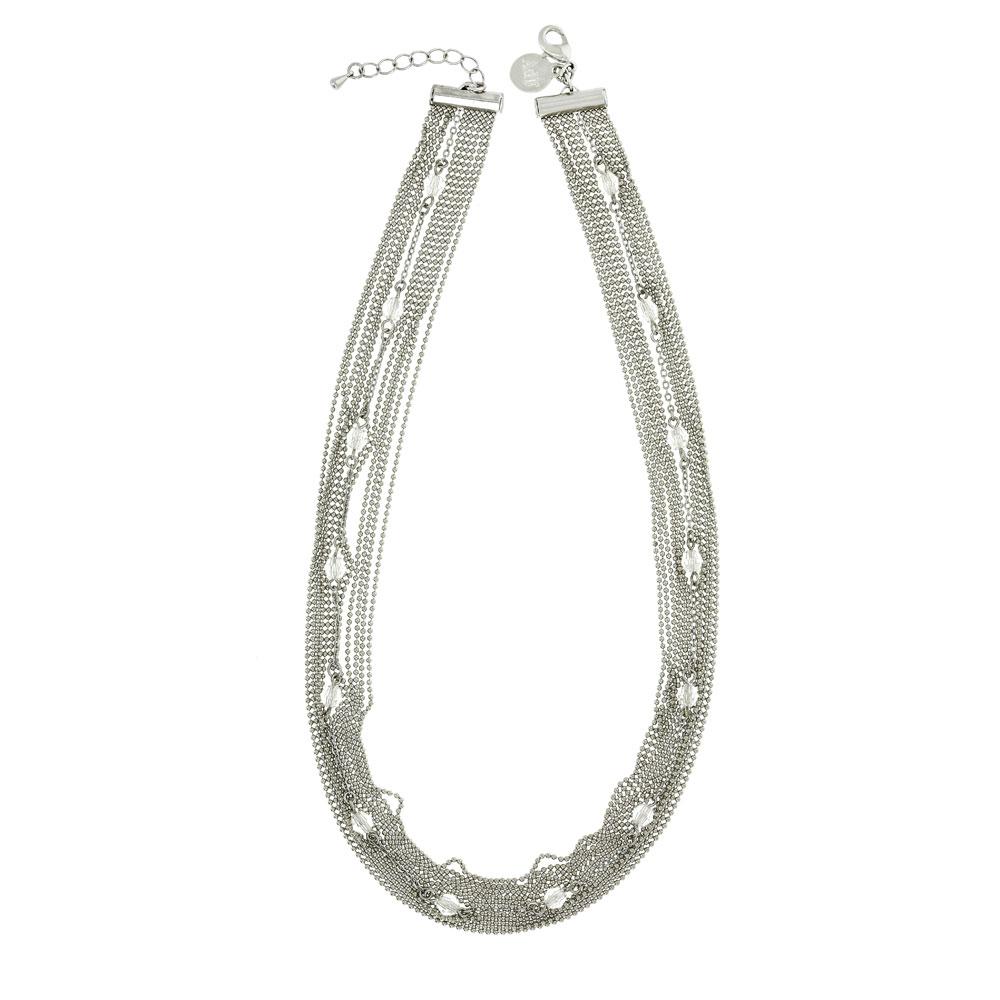 Collar plata bañado en rodio - cristales swarovski
