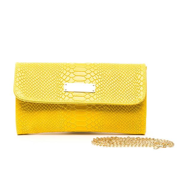 Bolso Clutch mujer piel - amarillo