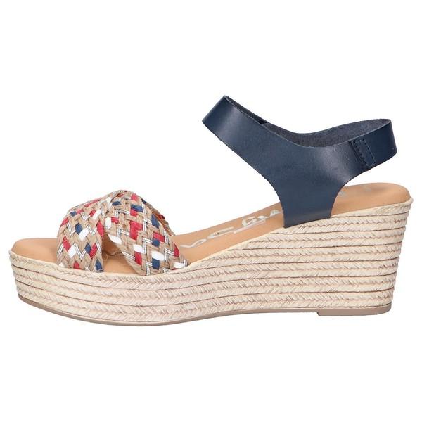 7cm Sandalia cuña piel/textil mujer - azul