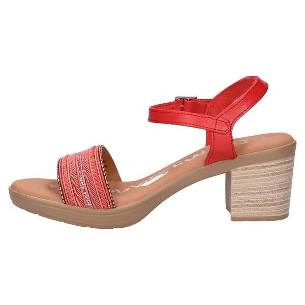 6cm Sandalia tacón piel/textil mujer - rojo