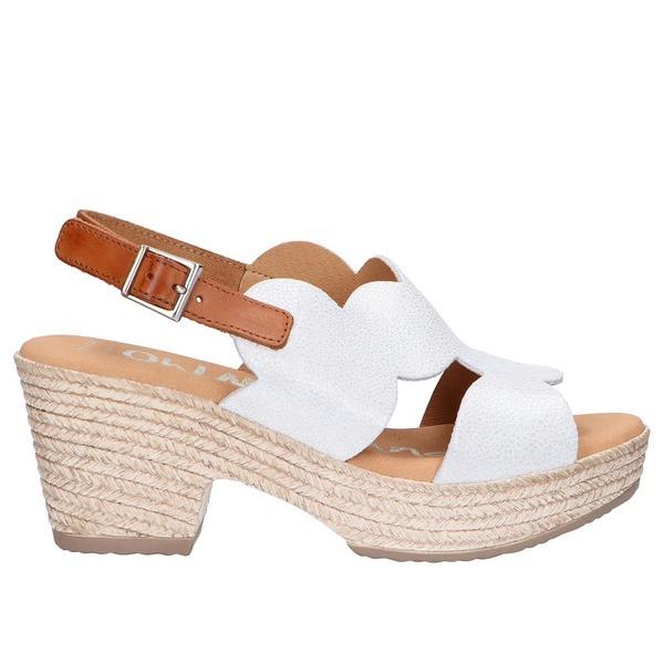 7cm Sandalia tacón piel mujer - blanco