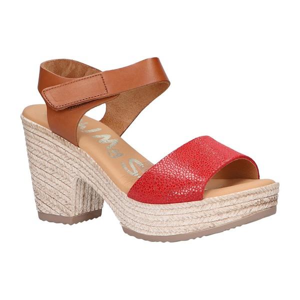 9cm Sandalia tacón piel mujer - rojo