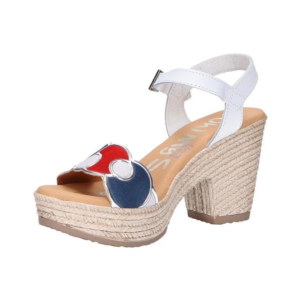 9cm Sandalia tacón piel mujer - blanco