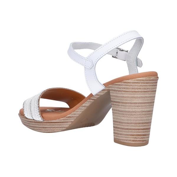 8cm Sandalia tacón piel mujer - blanco