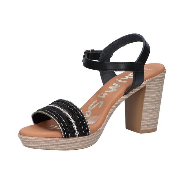 8cm Sandalia tacón piel mujer - negro