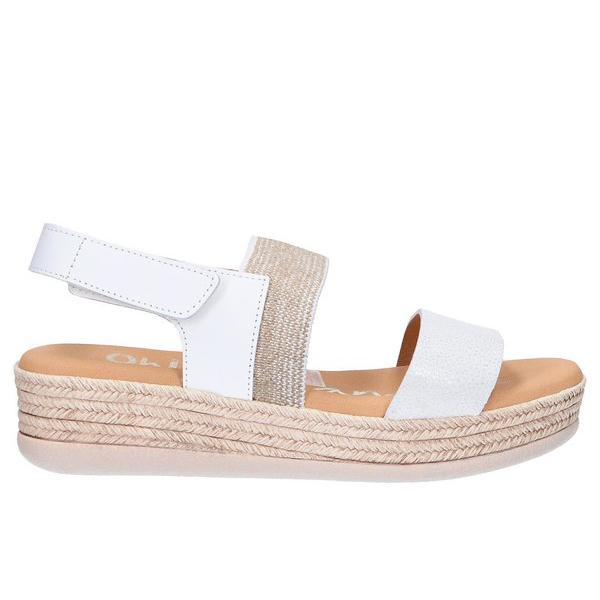 5cm Sandalia plataforma piel/textil mujer - blanco