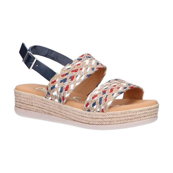 5cm Sandalia plataforma piel/textil mujer - azul