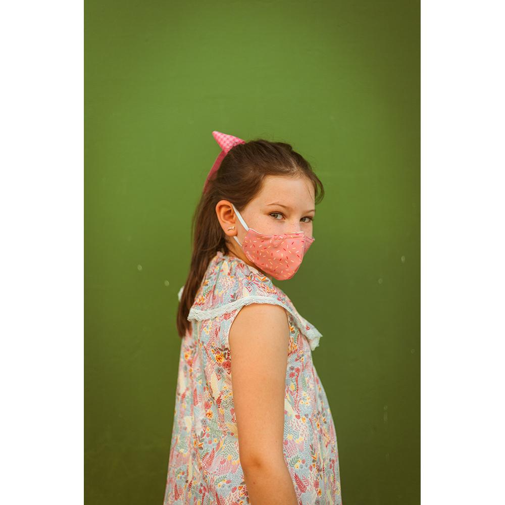 Mascarilla infantil - virutas rosa