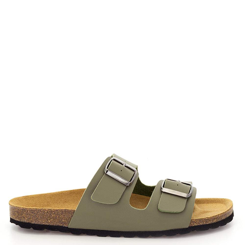 Sandalia piel vegana hombre - caqui