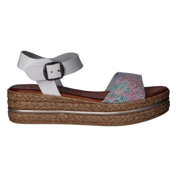 Sandalia plataforma piel mujer - blanco