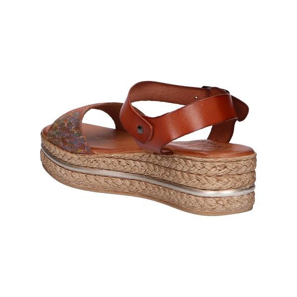 Sandalia plataforma mujer piel - marrón