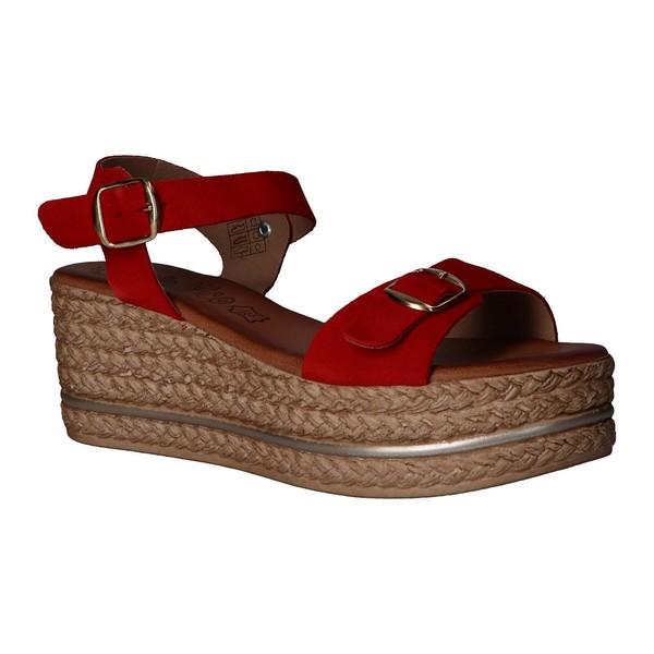 Sandalia plataforma mujer piel - rojo