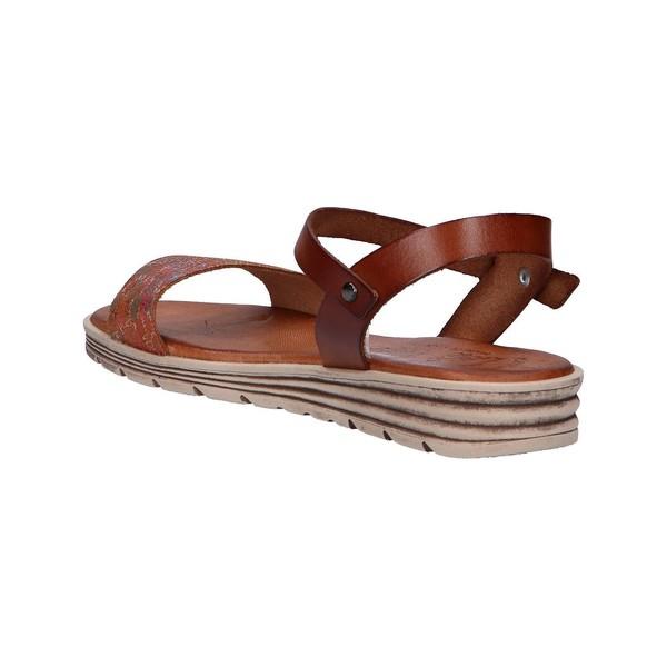Sandalia cuña piel mujer - marrón