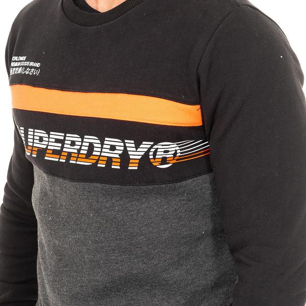 Sudadera hombre - negro/gris/naranja