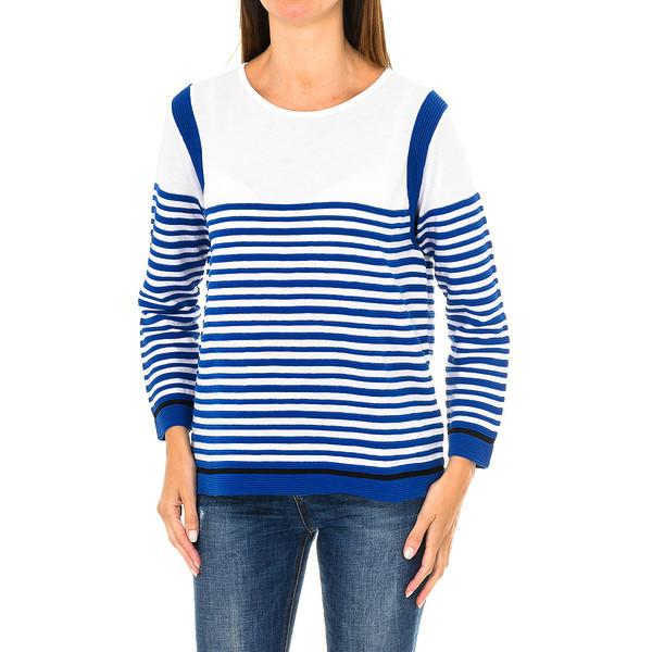 Jersey m/larga mujer - blanco/azul
