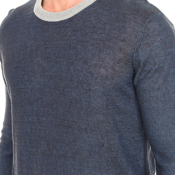 Jersey m/larga hombre - azul/beige