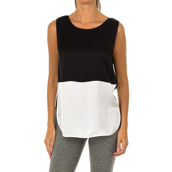 Blusa sin mangas mujer - negro/blanco