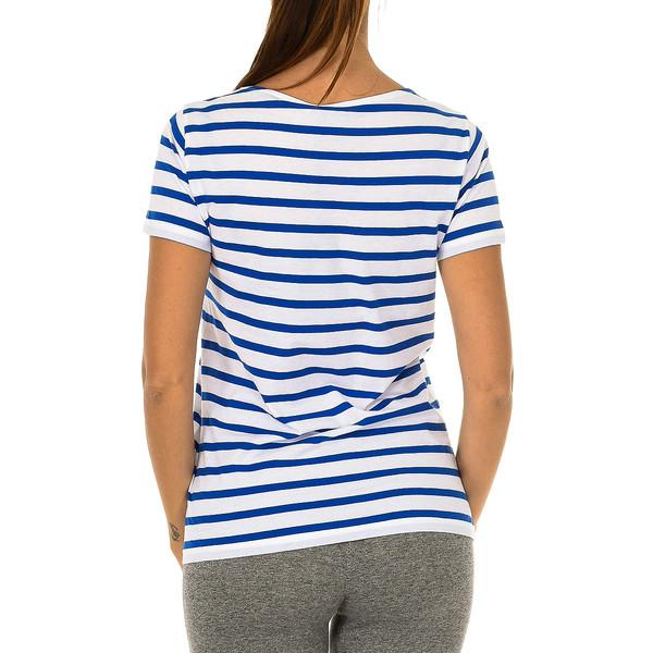 Camiseta m/corta mujer - azul/blanco