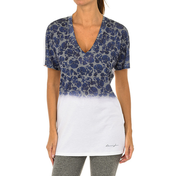 Camiseta m/corta mujer - blanco/azul
