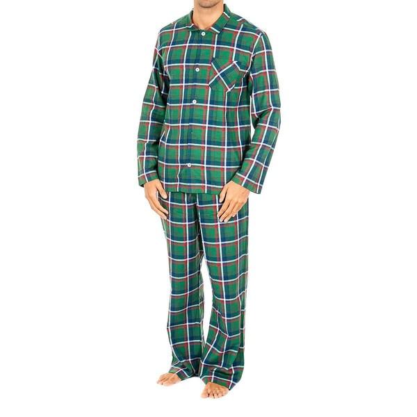 Pijama m/larga hombre - cuadros verde