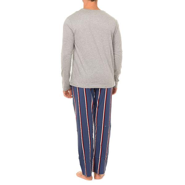 Pijama m/larga hombre - azul/rojo/blanco