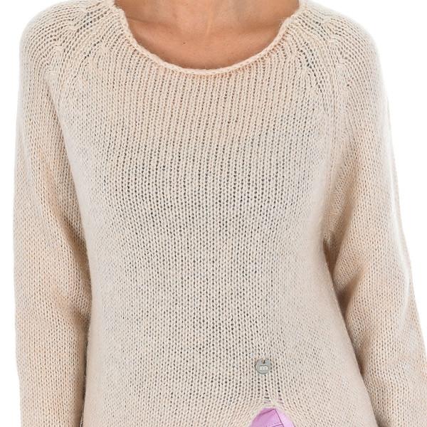 Jersey de punto manga larga mujer - beige
