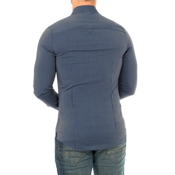 Camisa m/larga hombre - azul