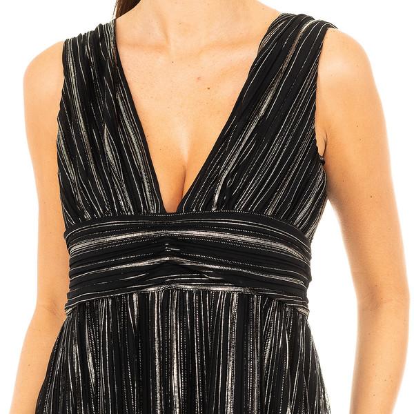Vestido largo mujer - negro/dorado