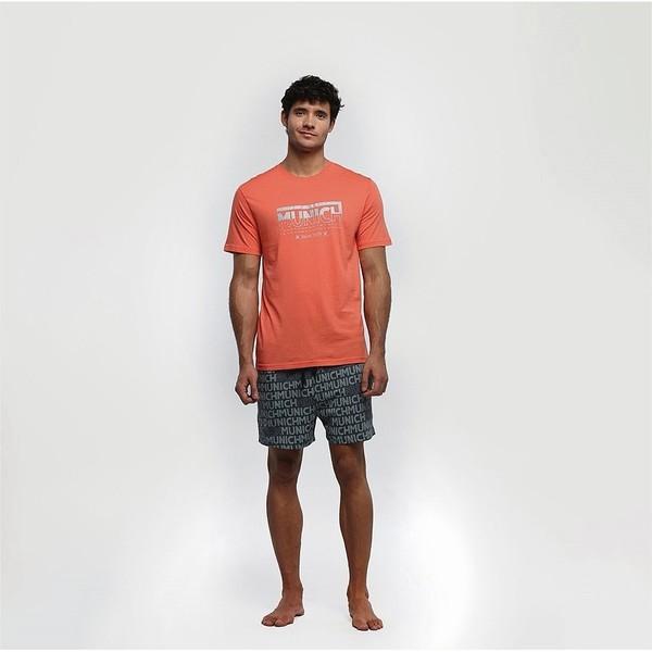 Pijama m/corta hombre - naranja/gris