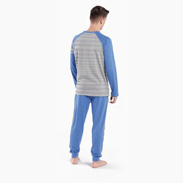Pijama m/larga hombre - azul/gris