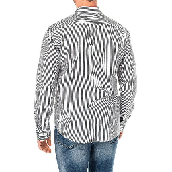 Camisa m/larga hombre - negro/blanco