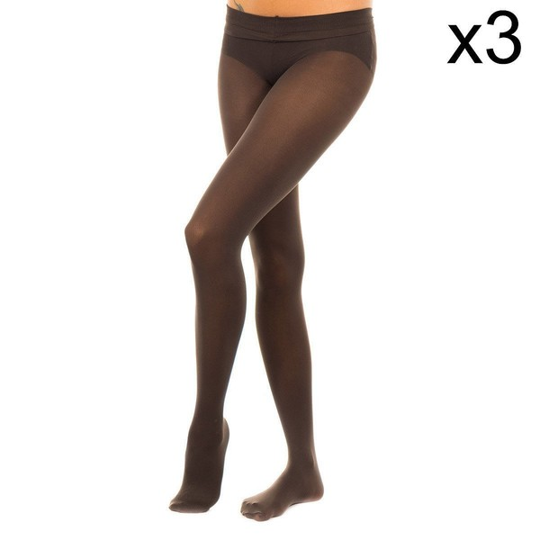 Pack-3 Panty Tupido M.Fibra 50D Mujer - Marrón