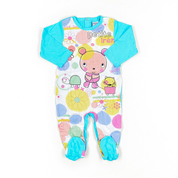 Pelele bebé - turquesa/estampado