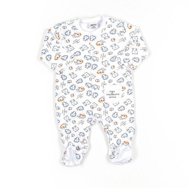 Pelele bebé - blanco/azul