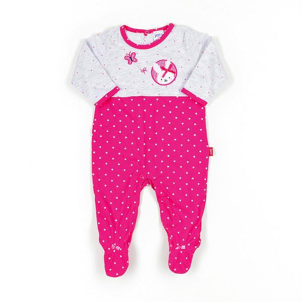 Pelele bebé - fucsia/gris