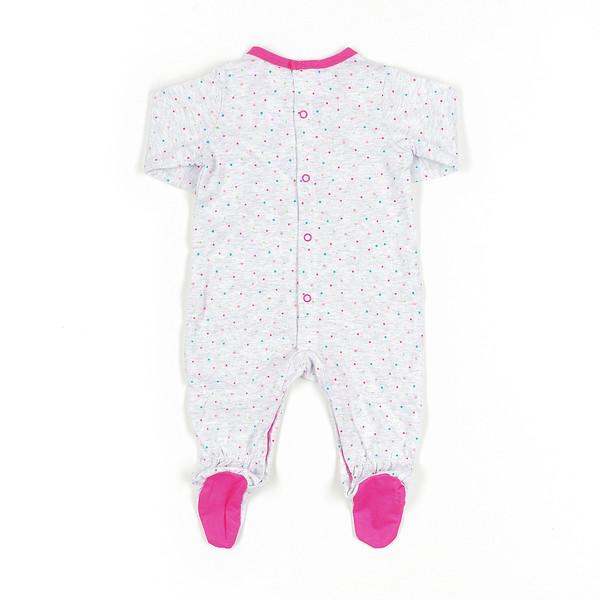 Pelele bebé - gris vigore/fucsia