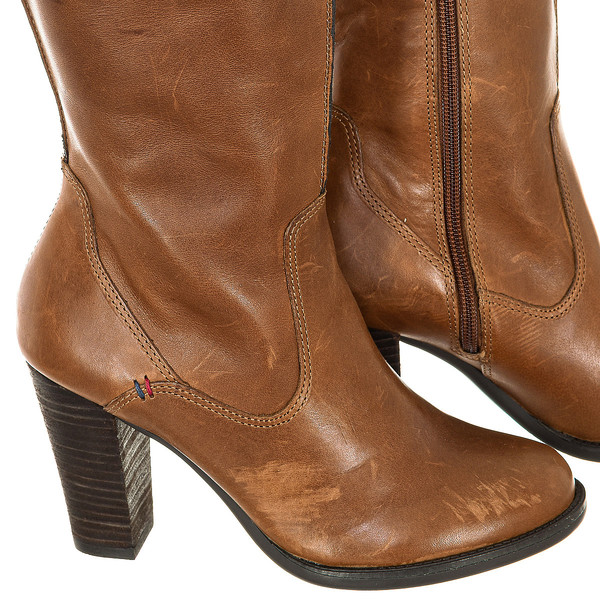 Bota tacón piel mujer - marrón