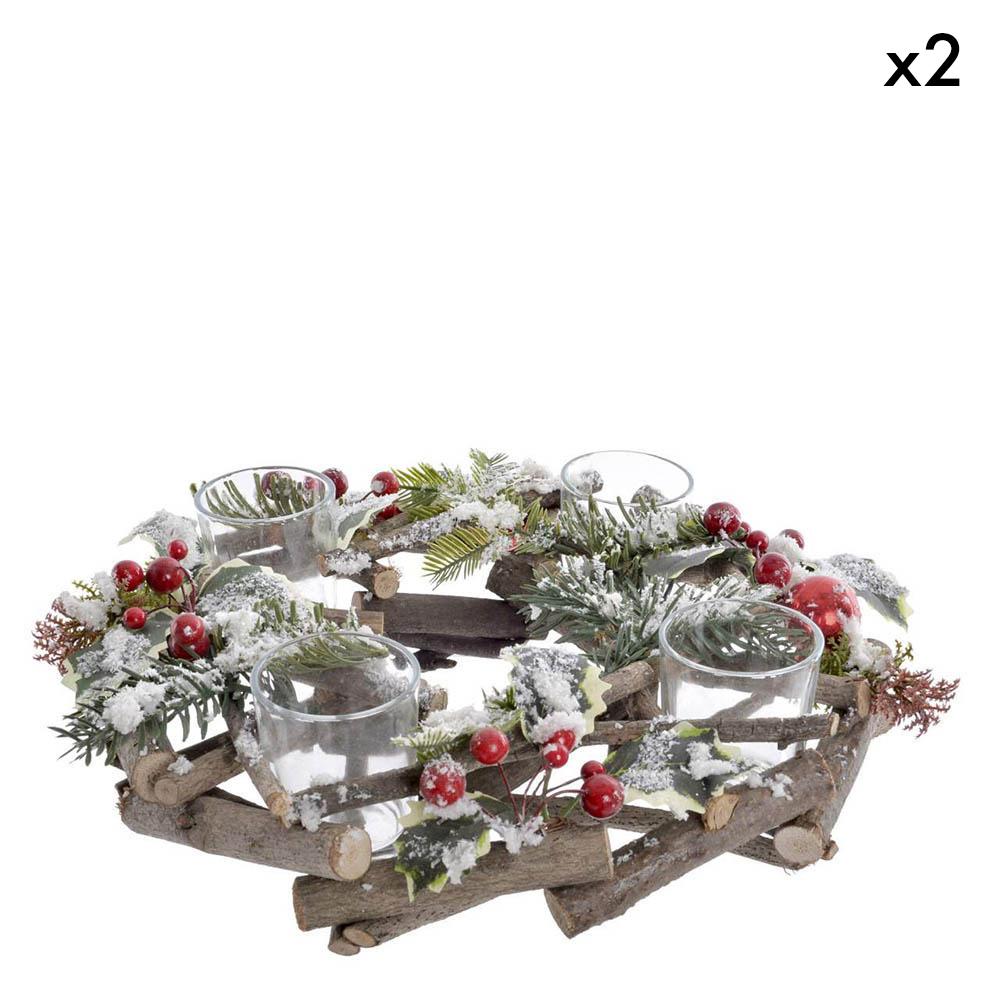 Pack 2 Porta velas ratan cristal nevado - verde