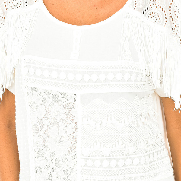 Blusa m/corta mujer - blanco