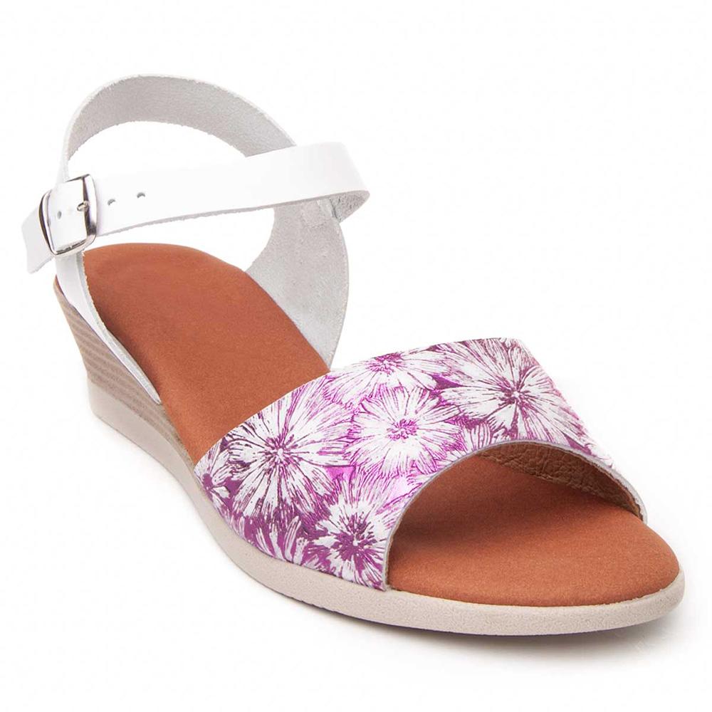 Sandalia cuña mujer piel - violeta