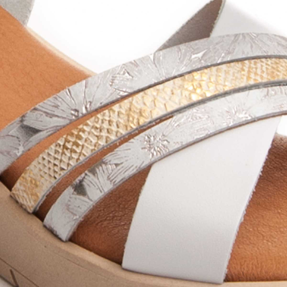 Sandalia cuña mujer piel - blanco