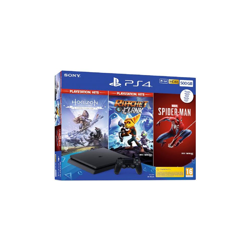 Consola ps4 500gb slim+horizon+ratchet+spiderman